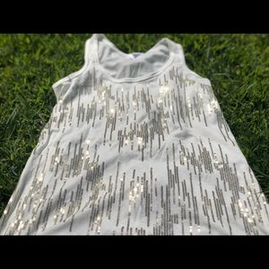 White Tank Top Silver Sequins